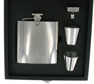 6oz High Polish Hip Flask with Funnel and 2 Cups in presentation Box