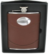 6oz Hip Flask in Brown Spanish leather with Engraving Plate