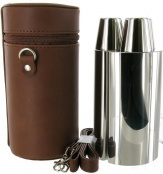 24oz Spanish leather 3 Flask Hunting Set with Tot Cups
